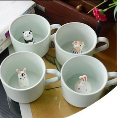 Fantastic Screen Ceramics cup coffee Strategies Creative Ceramic Cup coffee Mug Milk Cup With Animal Cute Cartoon Panda Rabbit Tee Cup Heat-resi Ceramic Plates, Ceramic Pottery, Ceramic Painting, Ceramic Art, Animal Mugs, Ceramic Animals, Cute Mugs, Funny Coffee Mugs, Clay Projects