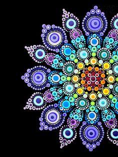 "From ""A Year of Stone Painting: 52 Mandala Designs to Inspire Your Spirit"" book. Mandala Art Lesson, Mandala Artwork, Mandala Canvas, Mandala Painting, Watercolor Mandala, Rock Painting Patterns, Dot Art Painting, Stone Painting, Mandala Painted Rocks"