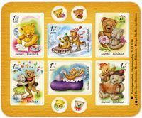 Postin verkkokauppa 1. lk:n postimerkit Nalleystävät kuuden (6) 1.luokan postimerkin arkki