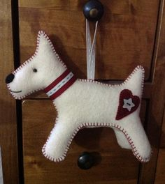 Alfie - felt terrier. Pattern from Dandelion Designs.