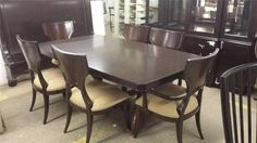 Thomasville Furniture  Nocturne Spellbound Dining Table & woodback Chair Set