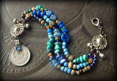 Kuchi, Gypsy, Banjara, Bohemian, Vintage, Lapis, Turuqoise, Glass, Kyanite, Beaded, Charm Bracelet by YuccaBloom on Etsy