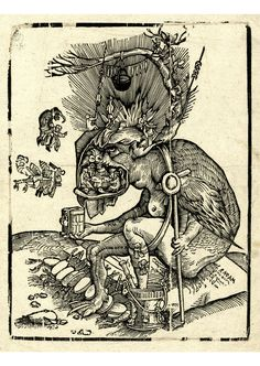 The clergy feasting in the jaws of a devil Woodcut Attributed to Matthias Gerung,Formerly attributed to Hans Weiditz, Germany, 1520-1560.