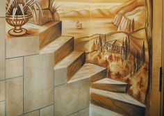 Die Ecke eines Badezimmers. Die Fliesen werden als Stiegenkanten ins Gemälde eingearbeitet.