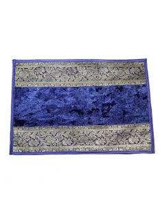 Blue color Velvet Table Mats - Set Of 6 by Jodhaa