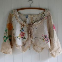 Vintage Linen Bolero Jacket Made to Order by MegbyDesign on Etsy, Vintage Embroidery, Vintage Lace, Upcycled Vintage, Etsy Vintage, Embroidery Stitches, Repurposed, Sewing Clothes, Diy Clothes, Boho Fashion