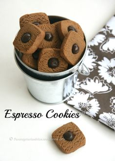 Eggless Espresso Cookies ~ Bake and Share – Pure Vegetarian Bites Eggless Desserts, Eggless Recipes, Eggless Baking, Cake Recipes, Dessert Recipes, Coffee Biscuits, Coffee Cookies, Biscuit Cookies, Biscuit Recipe