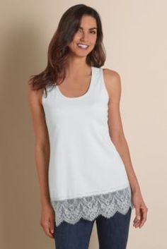 Tonal scalloped eyelash lace elevates this basic-plus jersey knit tank to an on-trend layering piece - so chic peeking out under a jacket or cardigan. Plus it's deliciously so
