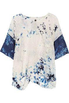 Raquel Allegra   Tie-dyed crinkled silk-crepe top