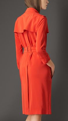 Burberry Orange Red Silk Trench Coat Dress - A super-lightweight trench coat-style dress crafted from silk.  Heritage-inspired details include a throat latch, storm shield, cuff straps and epaulettes.  A modern zip closure completes the design.  Discover the women's dress collection at Burberry.com