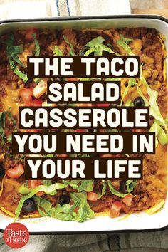 This is the taco casserole you need in your life. This is the taco casserole you need in your life. Taco Salad Recipes, Beef Recipes, Mexican Food Recipes, Dinner Recipes, Cooking Recipes, Healthy Recipes, Cooking Ideas, Cooking Ham, Cooking Pasta