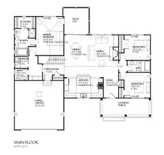 Traditional Style House Plan - 4 Beds 3.50 Baths 2467 Sq/Ft Plan #901-46 Floor Plan - Main Floor Plan
