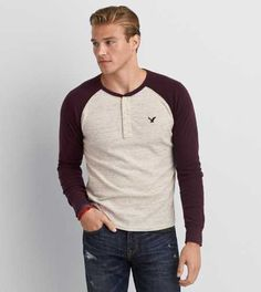 Shop casual Men's T Shirts at American Eagle. Find crew neck t shirts, henley t shirts, graphic tees, v neck t shirts, drop shoulder t shirts & more in new colors and styles. Thermal Henley, Laid Back Style, American Eagle Men, Mens Sale, Mens Outfitters, Lounge Wear, Style Me, Aeo, Mens Fashion