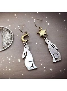 by the Hairy Growler handcrafted and upcycled silver Georgian shilling hare earrings made in Cambridge