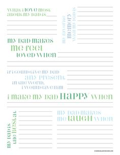 Father's Day questionnaire FREE PRINTABLE. Fun one to do with the kids each year.