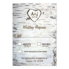 Country Rustic Birch Tree Bark Wedding RSVP Cards - features a printed birch bark front and back with a scratched carved heart that you can customize the initials to your own and underneath it, your wedding date. Country Wedding Invitations, Engagement Party Invitations, Rustic Invitations, Wedding Invitation Sets, Wedding Rsvp, Bridal Shower Invitations, Wedding Ideas, Invites, Wedding Rustic