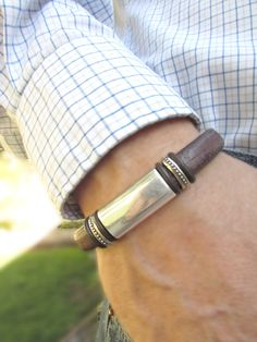 Men's Espresso Licorice Leather Bracelet: Free Shipping. Genuine Leather, Silver-Plated Pewter with Magnetic Clasp.