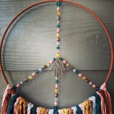 Hamsa, Mandala, Boho Wall Hanging, Dream Catcher Boho, Dark Teal, Czech Glass Beads, Healing Stones, Boho Decor, Crafts To Make