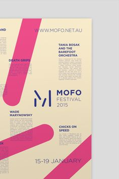A new event identity concept for the MOFO festival Harley Jackman is a Melbourne, Australia based graphic designer. For one of his university Typography Design, Lettering, Blog Design Inspiration, Branding, Brand Identity, Festival Posters, Art Festival, Book Design, Layout Design
