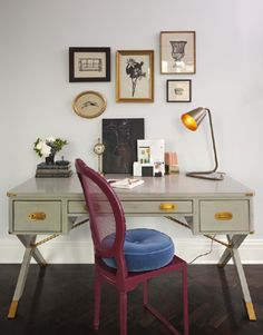 Lauren Stern Design  eclectic, chic office design with gray campaign sawhorse desk, ...