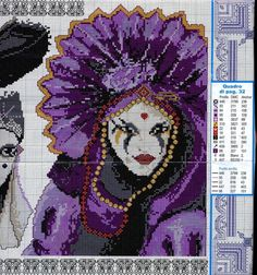 Gallery.ru / Фото #1 - 2 Маски Punto croce - LIOKA Just Cross Stitch, Cross Stitch Charts, Cross Stitch Patterns, Hobbies And Crafts, Diy And Crafts, Crochet Mask, Le Point, Plastic Canvas Patterns, Mardi Gras
