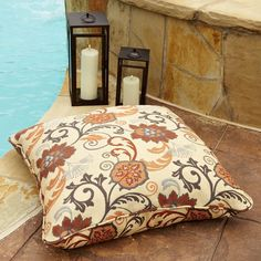 Clara Beige Rust Indoor Outdoor 26 Inch Square Outdoor Sunbrella