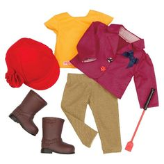 "• Sturdy polyester construction  • Includes a full set of horse and stable accessories  • Sized for 18"" dolls    Your little horse fans and their friends will love the Our Generation Deluxe Riding Outfit—the set that's perfect for dressing up their 18"" dolls for a day of trail riding. From the red riding helmet, purple jacket and yellow shirt to dark brown boots and tan pants, this girl is dressed up and ready to ride."