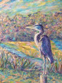 A 30x40 #Blue #Heron #painting by #Ann Lutz.