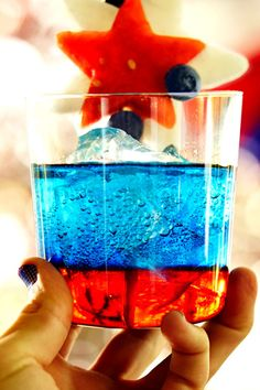 A patriotic cocktail perfect for long, holiday weekends! Pinnacle® Star-Spangled Spritzer recipe: 1 part Grenadine, 1 part Dekuyper® Blue Curacao, 1 part Pinnacle® Whipped® Vodka, 1 splash of soda water.  To create the red, white and blue hue, you've got to layer up! Before beginning make sure all your liquids are extra cold. Start with the Grenadine, then slowly pour the Dekuyper® Blue Curacao. Add Pinnacle® Whipped® Vodka and top off with soda water.