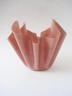 Vintage 50s Pink Raffia Wave Bowl or Planter