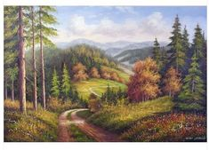How I picture the landscape along the lanes in North Carolina for the book Saving Sarah. Black Canvas Paintings, Cheap Paintings, Oil Painting On Canvas, Dream Pictures, Pictures To Paint, Watercolor Landscape, Landscape Paintings, Black Forest Mountains, Mountain Paintings