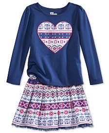 Epic Threads Mix and Match Tribal Heart Graphic T-Shirt & Tribal-Print Skirt, Toddler & Little Girls (2T-6X), Only at Macy's