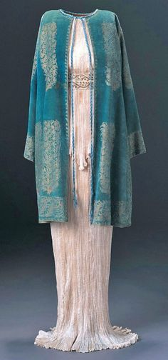 Fortunay Delphos dress and velvet coat, 1920-30s.