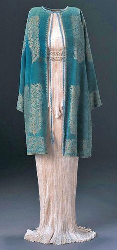 Fortunay Delphos dress and velvet coat, 1920-30s.