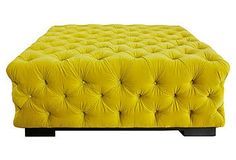 Baldwin Tufted Cotton Ottoman, Citrus by Kim Salmela via #onekingslane