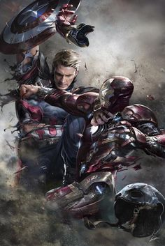 Alexander Lozano, one of the best cover artists working for Marvel, created one of the greatest piece of art you will ever see, featuring Captain America and Iron Man fighting to the death. Marvel Avengers, Marvel Comics, Marvel Fanart, Films Marvel, Heros Comics, Marvel Heroes, Captain Marvel, Bucky, Civil War Art