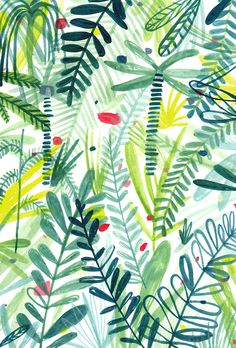 This leafy pattern by Charlotte Trounce has us ready to explore the jungle! Illustration Blume, Pattern Illustration, Surface Pattern Design, Pattern Art, Jungle Pattern, Green Pattern, Tropical Pattern, Textures Patterns, Print Patterns