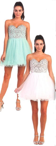 Prom Dresses Evening Dresses under $200<BR>9001<BR>Strapless sweetheart neckline short dress featuring stones and bead work on bodice