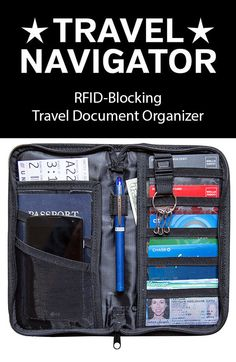 Travel Document Organizer from Travel Navigator - Keep your passport, ID, credit cards, cash, boarding pass, and other travel documents handy and organized. Features RFID blocking to protect your passport and credit cards from identity theft.