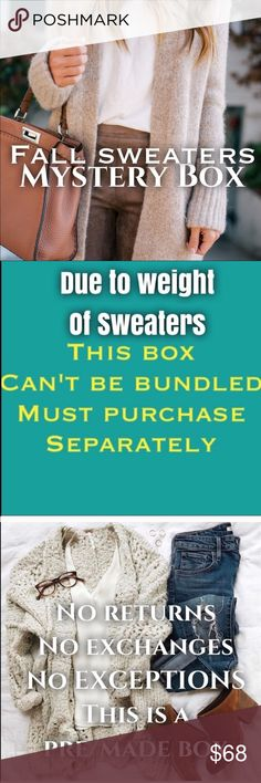 FALL SWEATERS MYSTERY BOX ( 6 items ) Yes fall is around the corner time , to build up your wardrobe with the  chunky sweaters, weekend pullovers , cardigans ok so all kinds of sweaters! All no requests boxes are pre/made. Brands might include: Anthro, J.Crew, Zara, BCBG,Adrienne Vitadani,loft, ann taylor, banana republic, Eddie Bauer, Jeanne Pierre, Talbots, Jones New York, Croft & Barrow, Christopher & banks , liz Claiborne, gap, , Merona,express, & many more! This box will be all mix of…