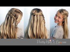 How To: Four Strand Waterfall Braid  Pretty Hair is Fun - YouTubeBraid Hairstyles, Braids, braids tutorial, braids for short hair, braids for short hair tutorial, braids for long hair, braids for long hair tutorials...