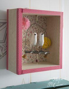 HADAS Y CUSCUS: Estanteria cajita de pájaros con tela adhesiva