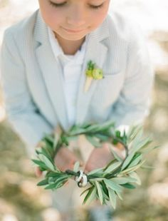 This ring bearer carried an olive branch wreath instead of a pillow. So sweet!