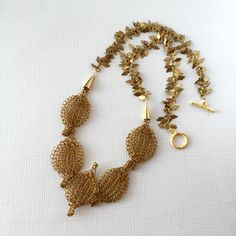 Wire crocheted leaf bib necklace, amber color handmade unique necklace, one-of-a-kind wire and chain jewelry, Christmas gift by LunicaDesignJewelry on Etsy
