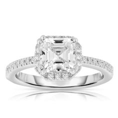 Collette Z Sterling Silver Ascher-cut Cubic Zirconia Ring (Size White Cubic Zirconia Engagement Rings, Cubic Zirconia Rings, Ascher Cut, Ring Stores, Diamond Alternatives, Best Diamond, Rings Cool, Rings Online, Gemstone Jewelry