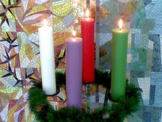 Pillar Candles, Catholic, Christmas, Internet, Jesus Christ, Candle Arrangements, Flower Arrangements, Floral Arrangements, Advent Candle Colors