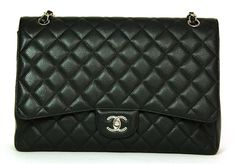 Chanel Black Caviar Single Flap Maxi Bag