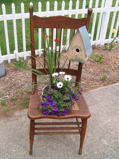 """Love this idea for a """"garden chair."""" I can't count how many damaged rattan-bottomed chairs I see on tree lawns waiting for trash pick up. It makes me sad, and this is a great way to recycle/re-use them!"""