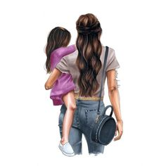 Mother and daughter - fashion illustration - mother and child - mom and daughter - gifts for . Mother and daughter - fashion illustration - mother and child - mom and daughter - gifts for her - birthday gift idea - fashion print - Mum, Diy Abschnitt, Mother And Daughter Drawing, Mother Art, Mother And Child, Daughters Day, Mom Daughter, Girly M, Megan Hess, Illustration Mode, Mom And Baby