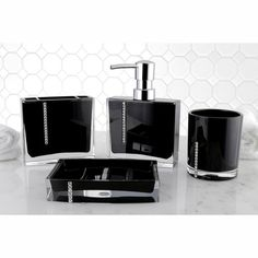 $45 - comes in white too - Found it at Wayfair - Reef 4 Piece Bath Accessory Set